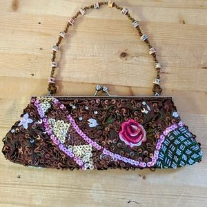 ALDO Brown Floral Sequinned Beaded Clutch